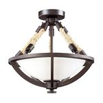 "Natural Rope Collection 2-Light 15"" Aged Bronze Semi Flush with Satin Glass 63011-2"