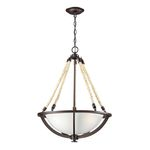 "Natural Rope Collection 3-Light 20"" Aged Bronze Pendant with Satin Glass 63013-3"