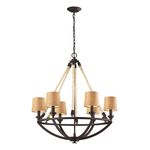 "Natural Rope Collection 6-Light 30"" Aged Bronze Chandelier 63016-6"