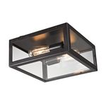 "Parameters Collection 2-Light 12"" Oiled Bronze Flush Mount with Clear Glass 63021-2"