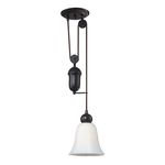 "Farmhouse Collection 1-Light 7"" Oiled Bronze Mini Pendant with White Glass 65090-1"