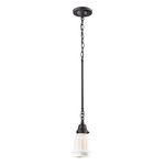 "Quinton Parlor Collection 1-Light 5"" Oiled Bronze Pendant with White Hand Blown Glass 66216-1"
