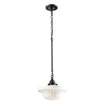 "Quinton Parlor Collection 1-Light 11"" Oiled Bronze Pendant with White Hand Blown Glass 66217-1"