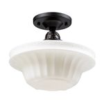 "Quinton Parlor Collection 1-Light 11"" Oiled Bronze Semi Flush Mount with White Hand Blown Glass 66221-1"