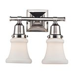 "Barton Collection 2-Light 12"" Polished Nickel Vanity with White Hand Blown Glass 66231-2"