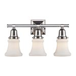 "Barton Collection 3-Light 19"" Polished Nickel Vanity with White Hand Blown Glass 66232-3"