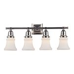 "Barton Collection 4-Light 25"" Polished Nickel Vanity with White Hand Blown Glass 66233-4"