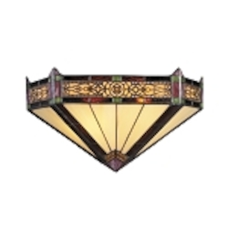 "Filigree Collection 2-Light 14"" Aged Bronze Wall Sconce with Tiffany Style Glass 08030-AB"