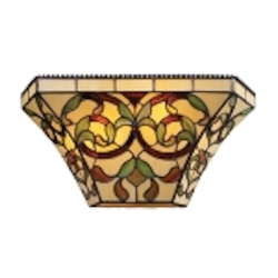 "Majestic Collection 2-Light 14"" Golden Bronze Pocket Wall Sconce with Tiffany Style Glass 08042-GB"
