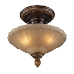 "Restoration Collection 3-Light 12"" Golden Bronze Semi-Flush with Amber Antique Glass 08092-AGB"