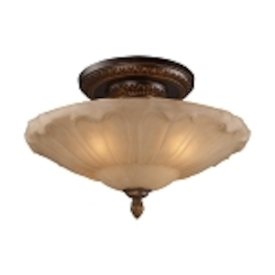 "Restoration Collection 4-Light 20"" Golden Bronze Semi-Flush Mount with Antique Amber Glass 08093-AGB"