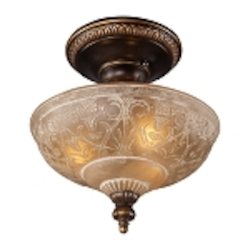 "Restoration Collection 3-Light 12"" Golden Bronze Semi-Flush with Amber Antique Glass 08100-AGB"