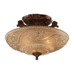 "Restoration Collection 3-Light 16"" Golden Bronze Semi-Flush with Amber Antique Glass 08101-AGB"