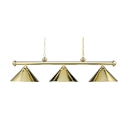 "Casual Traditions Collection 3-Light 51"" Polished Brass Billiards Light with Metal Shades 168-PB"