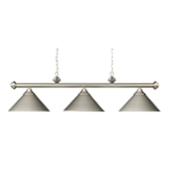 "Casual Traditions Collection 3-Light 51"" Satin Nickel Billiards Light with Metal Shades 168-SN"