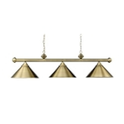"Casual Traditions Collection 3-Light 51"" Tiffany Bronze Billiards Light with Metal Shades 168-TB"