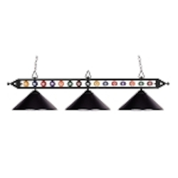 "Designer Classics Collection 3-Light 58"" Matte Black Billiard Light with Metal Shades 190-1-BK-M"