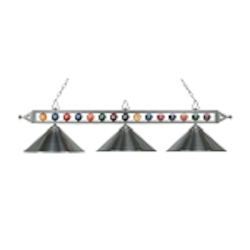 "Designer Classics Collection 3-Light 58"" Satin Nickel Billiard Light with Metal Shades 190-1-SN-M"