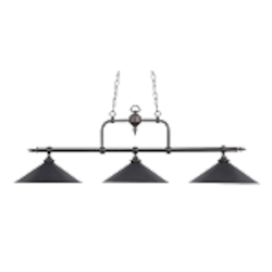 "Designer Classics Collection 3-Light 63"" Tiffany Bronze Island Chandelier with Metal Shades 191-TB"