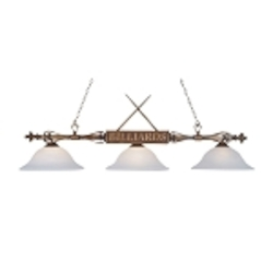 "Designer Classics Collection 3-Light 59"" Wood Patina Billiards Light with White Glass 194-WD-G1"