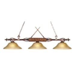 "Designer Classics Collection 3-Light 59"" Wood Patina Billiards Light with Amber Glass 194-WD-G6"