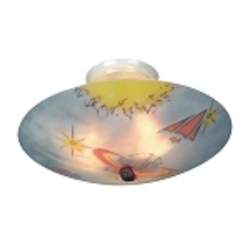 "Kidshine Collection 3-Light 17"" Galactic Explorer Glow-In-The-Dark Semi-Flush Mount 201-GE"