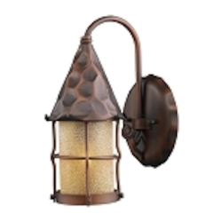 "Rustica Collection 1-Light 14"" Antique Copper Outdoor Wall Sconce with Amber Seedy Glass 381-AC"