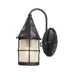 "Rustica Collection 1-Light 14"" Matte Black Outdoor Wall Sconce with White Seedy Glass 381-BK"