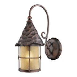 "Rustica Collection 1-Light 19"" Antique Copper Outdoor Wall Sconce with Amber Seedy Glass 385-AC"