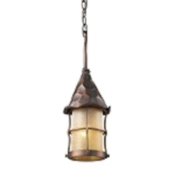"Rustica Collection 1-Light 18"" Antique Copper Outdoor Hanging Lantern with Amber Seedy Glass 388-AC"
