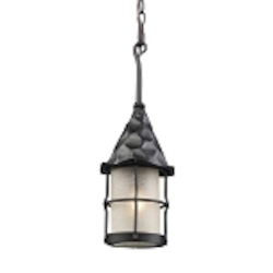 "Rustica Collection 1-Light 18"" Matte Black Outdoor Hanging Lantern with White Seedy Glass 388-BK"