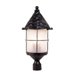 "Rustica Collection 3-Light 26"" Matte Black Outdoor Post Lantern with White Seedy Glass 389-BK"