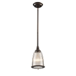 "Halophane Collection 1-Light 10"" Aged Bronze Mini Pendant with Ribbed Glass 60015-1"