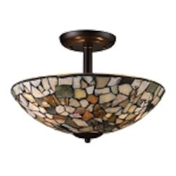 "Trego Collection 3-Light 16"" Semi-Flush Mount with Multi-Colored Stone Shade 60017-3"