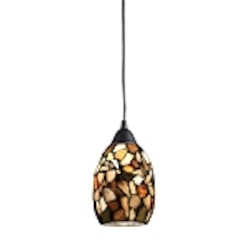 "Trego Collection 1-Light 18"" Mini Pendant with Multi-Colored Stone Shade 60018-1"