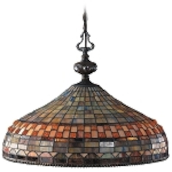 "Jewelstone Collection 3-Light 20"" Classic Bronze Pendant with Tiffany Style Glass 611-CB"