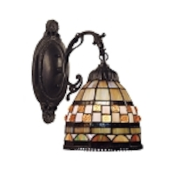 "Jewelstone Collection 1-Light 12"" Classic Bronze Wall Sconce with Tiffany Style Glass 618-CB"