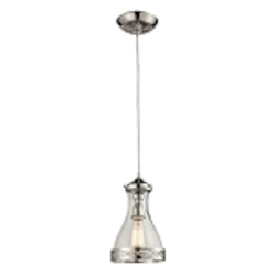 "Brookline Collection 1-Light 12"" Polished Nickel Mini Pendant with Glass Shade 63024-1"