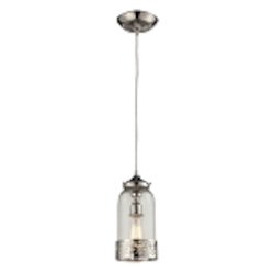"Brookline Collection 1-Light 12"" Polished Nickel Mini Pendant with Glass Shade 63025-1"