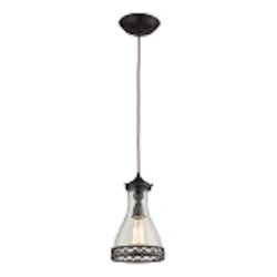 "Brookline Collection 1-Light 12"" Oiled Bronze Mini Pendant with Glass Shade 63034-1"