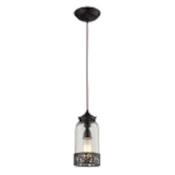 "Brookline Collection 1-Light 12"" Oiled Bronze Mini Pendant with Glass Shade 63035-1"