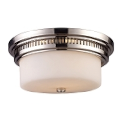 "Chadwick Collection 2-Light 13"" Polished Nickel Flush Mount with White Glass 66111-2"