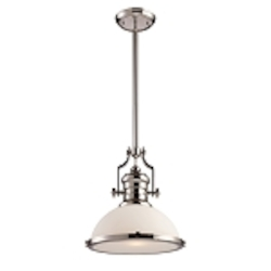 "Chadwick Collection 1-Light 14"" Polished Nickel Pendant with White Glass 66113-1"