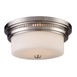 "Chadwick Collection 2-Light 13"" Satin Nickel Flush Mount with White Glass 66121-2"