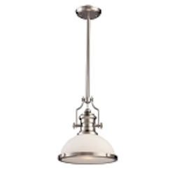 "Chadwick Collection 1-Light 14"" Satin Nickel Pendant with White Glass 66123-1"