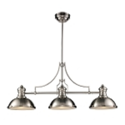 "Chadwick Collection 3-Light 47"" Industrial Satin Nickel Island Light 66125-3"