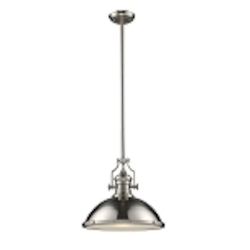 "Chadwick Collection 1-Light 17"" Industrial Satin Nickel Pendant 66128-1"