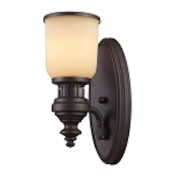 "Chadwick Collection 1-Light 13"" Oiled Bronze Wall Sconce with Amber Glass 66130-1"