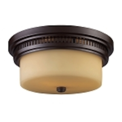 "Chadwick Collection 2-Light 13"" Oiled Bronze Flush Mount with Amber Glass 66131-2"