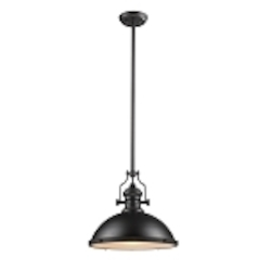 "Chadwick Collection 1-Light 17"" Industrial Oiled Bronze Pendant 66138-1"